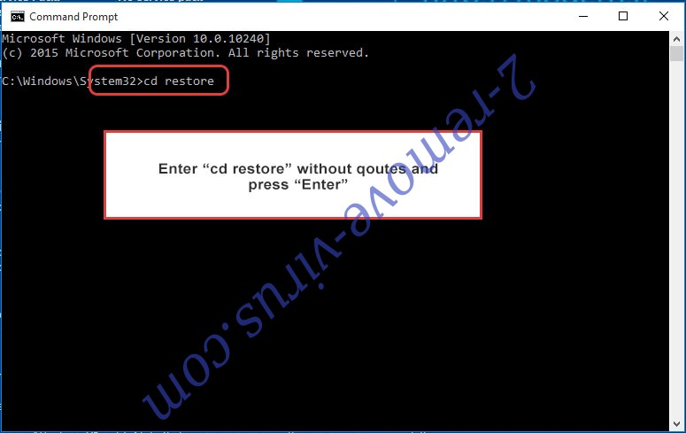 Uninstall NTK ransomware - command prompt restore