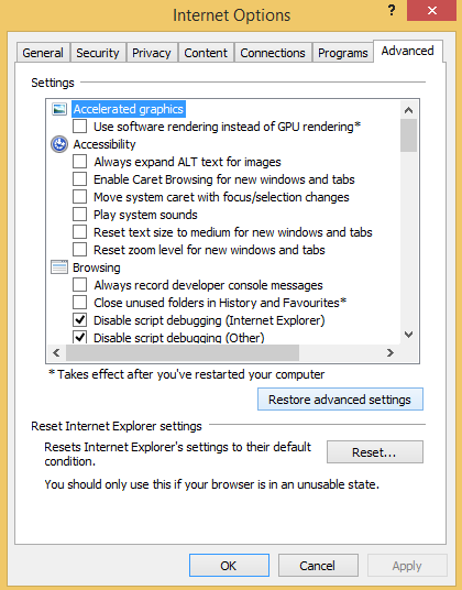 How to reset Internet Explorer 2