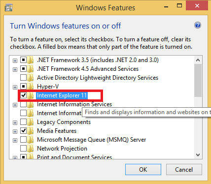 Windows Features IE