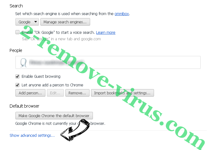 Searchdimension.com Chrome settings more
