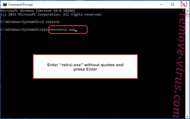 Delete Golden Axe ransomware virus - command prompt restore execute