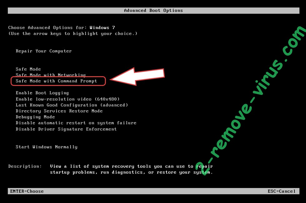 Remove Golden Axe ransomware virus - boot options