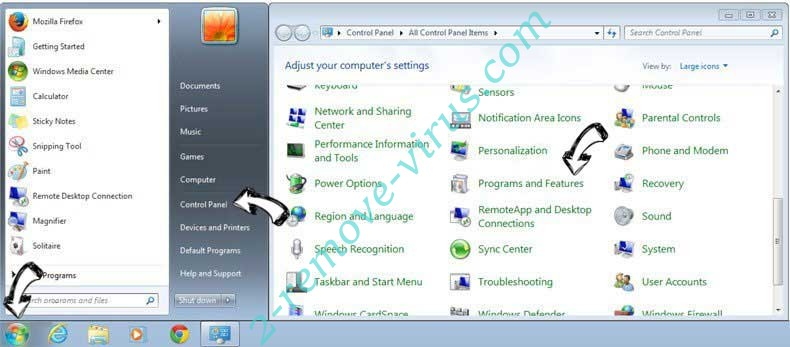 Uninstall EMazeSearch search from Windows 7