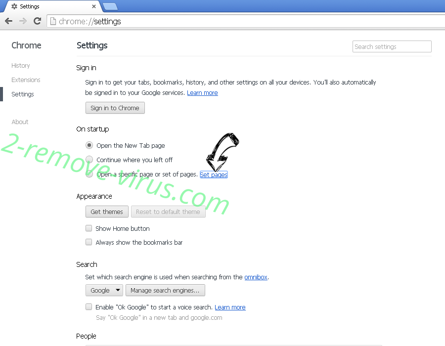 NoteHomepage Toolbar Chrome settings