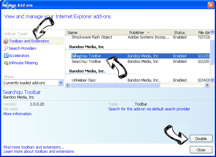 Search.terraarcade.com IE toolbars and extensions
