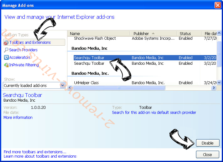 Search Anonymo IE toolbars and extensions