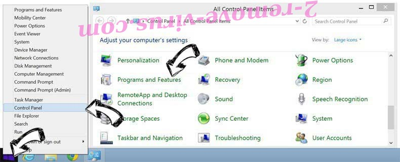 Delete Search Anonymo from Windows 8