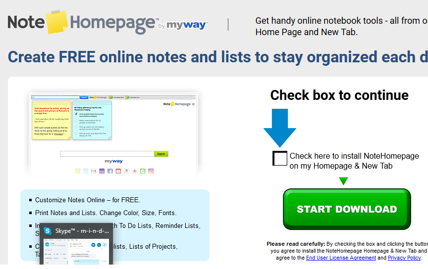notehomepage toolbar