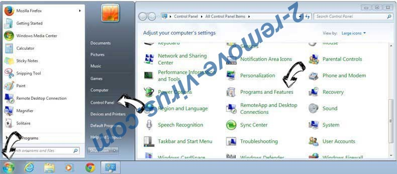 Uninstall LuckyStarting Redirect from Windows 7