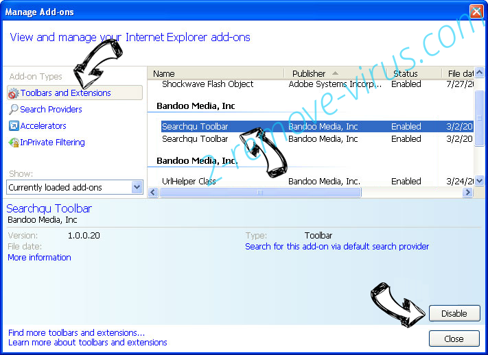 search.us.com IE toolbars and extensions