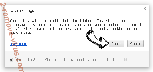 Searches.safehomepage.com rimozione Chrome reset