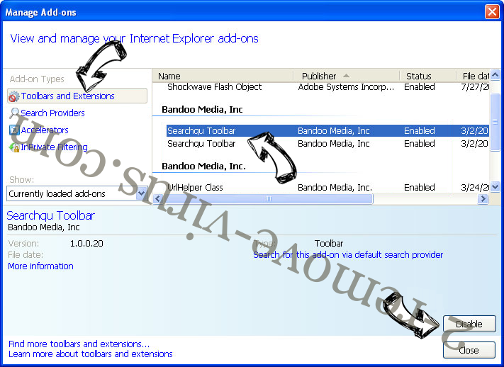 Searches.safehomepage.com rimozione IE toolbars and extensions