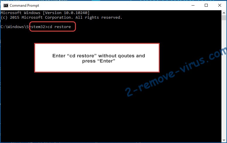 Uninstall Fatboy ransomware - command prompt restore