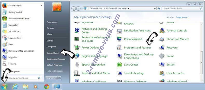 Uninstall Search.smartmediatabsearch.com from Windows 7