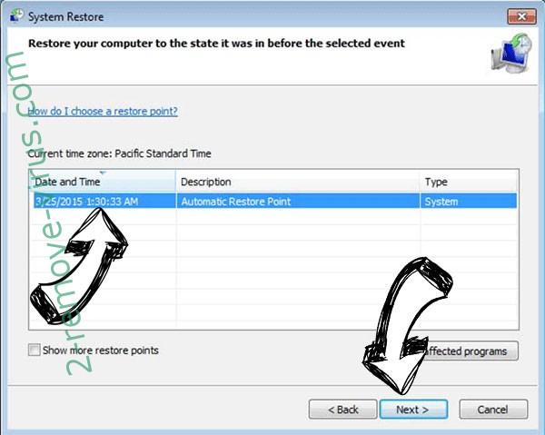 Zeropadypt ransomware - restore point