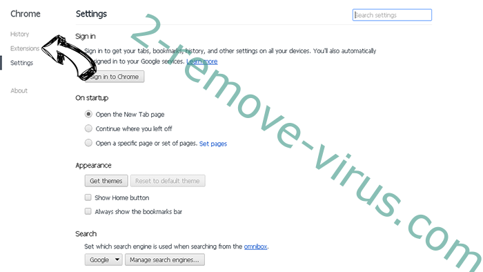 musicNow Home adware Chrome settings