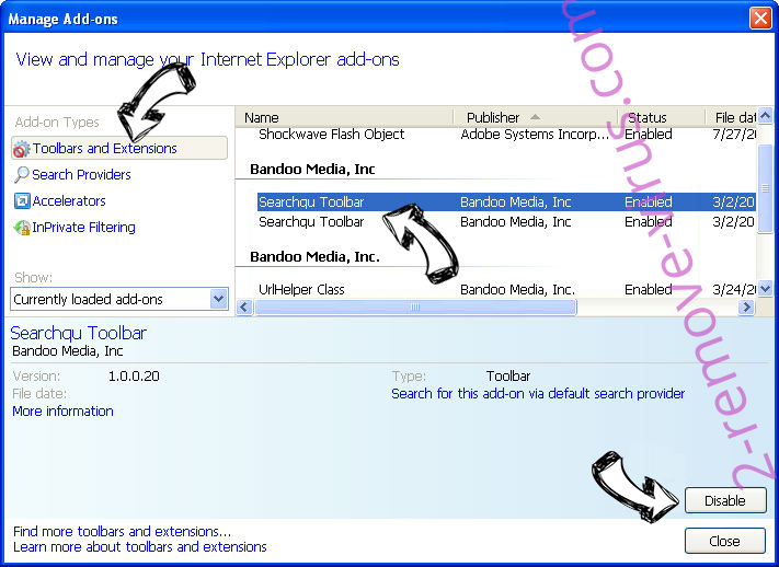 Searchtab.win IE toolbars and extensions