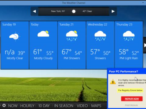 إزالة Weather Update Toolbar