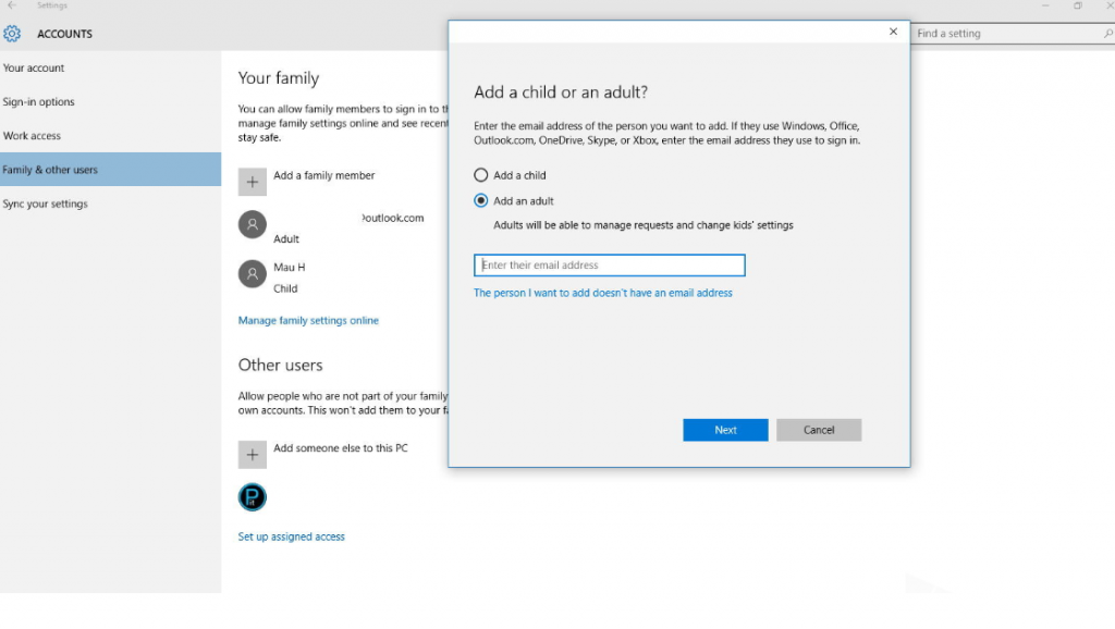 Windows 10  Create a different account
