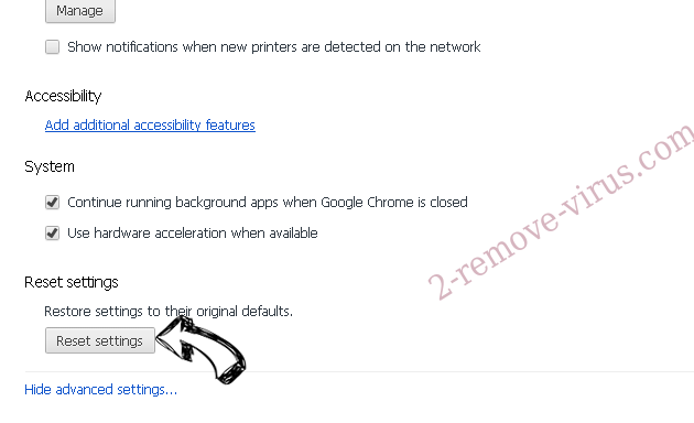 Searchdims.network Chrome advanced menu