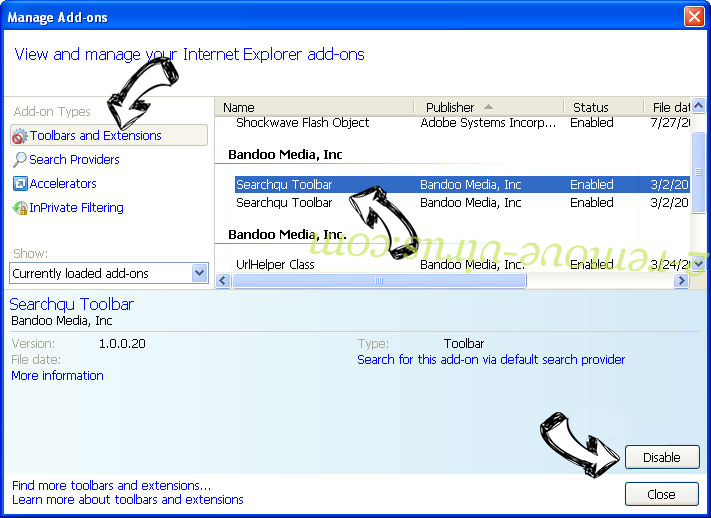 Slicksearch.com Virus IE toolbars and extensions