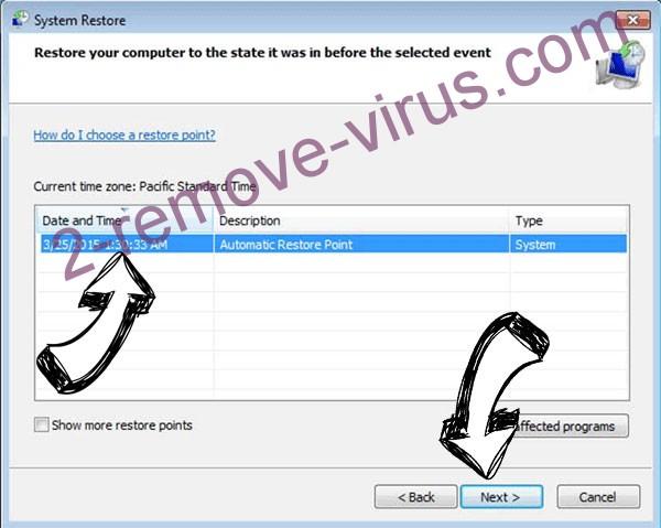 CryptoWall Virus - restore point