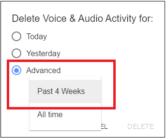 Delete Voice and Audio Activity