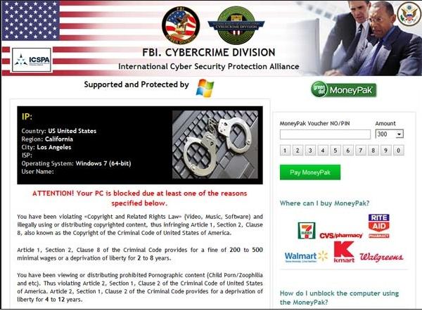FBI Cybercrime Division virus poisto