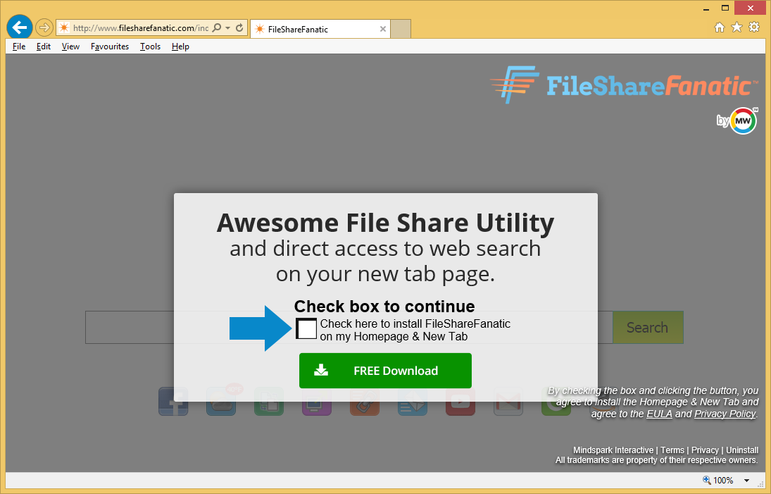 Menghapus FileShareFanatic Toolbar