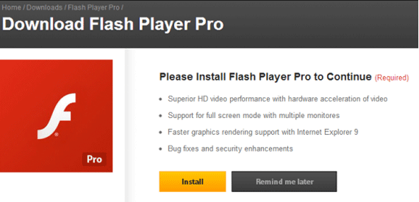 Rimuovere Flash Player Pro virus