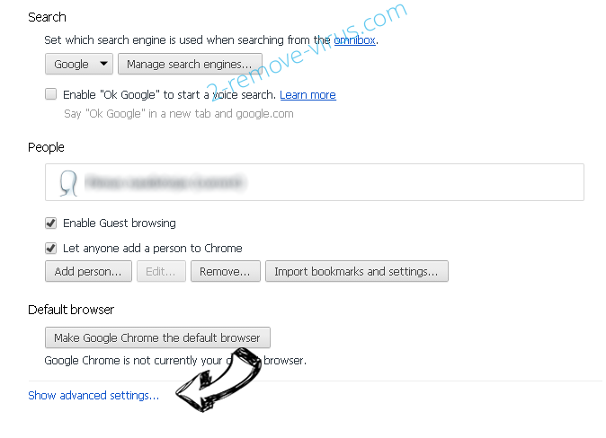 Webstartsearch.com Chrome settings more