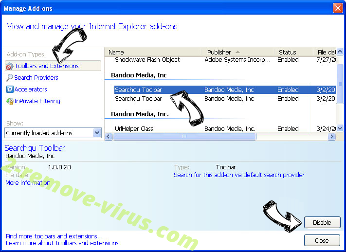 Webstartsearch.com IE toolbars and extensions