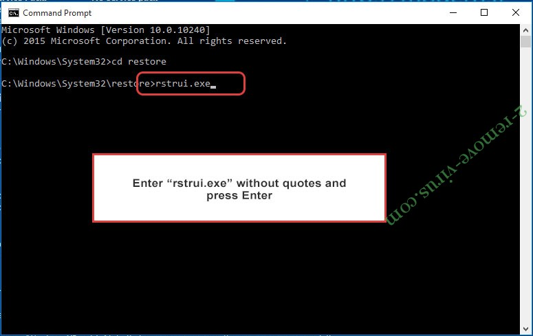 Delete Striked ransomware - command prompt restore execute