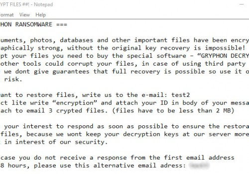 Gryphon Ransomware Removal