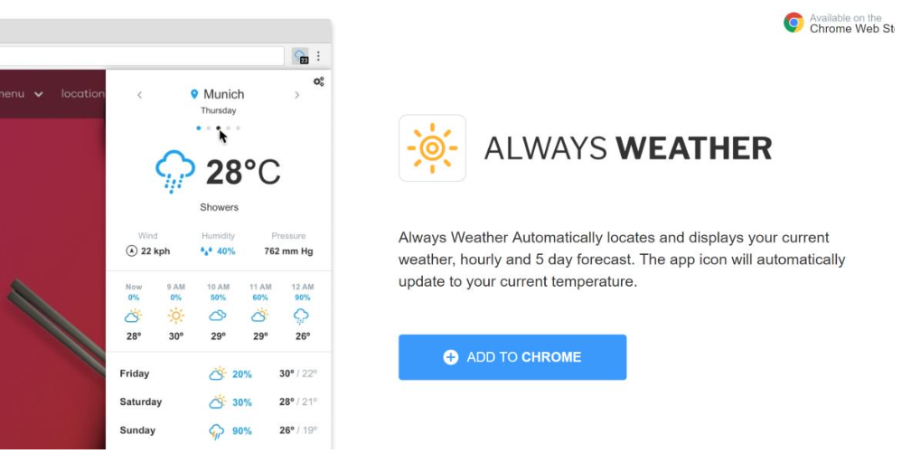 Usuń Always Weather extension