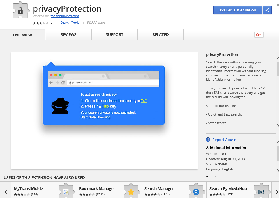 Poista PrivacyProtection Extension