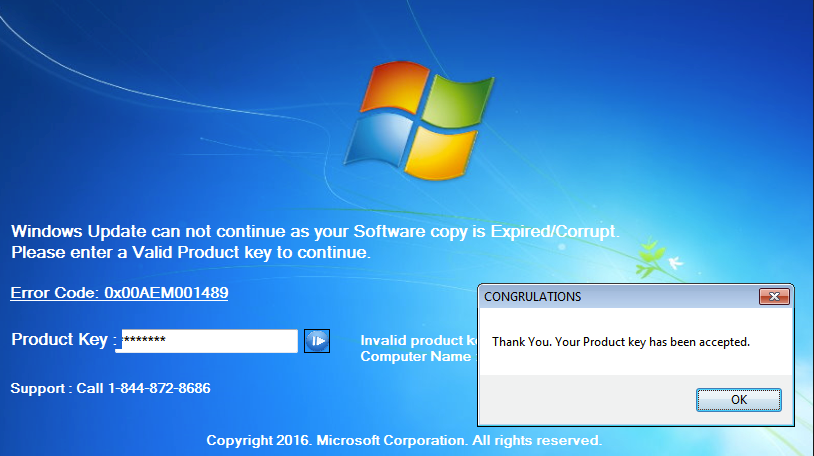 Product Key Has Expired Scam
