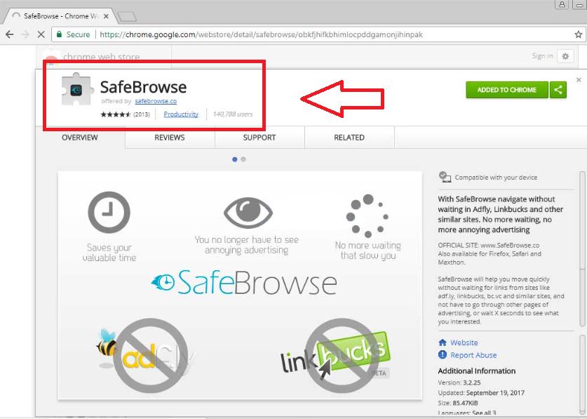SafeBrowse Chrome Extension