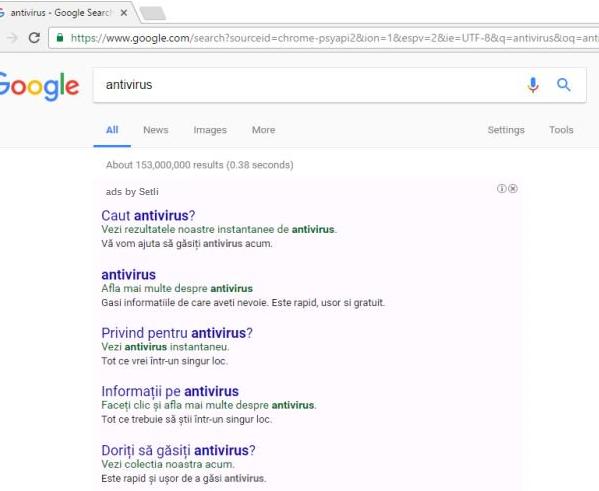 Setli ads Virus