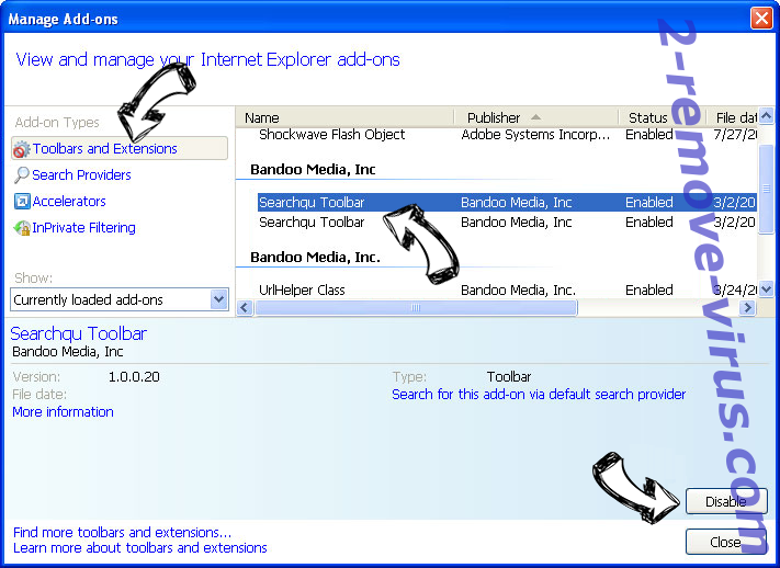 MyOneSearch.net IE toolbars and extensions