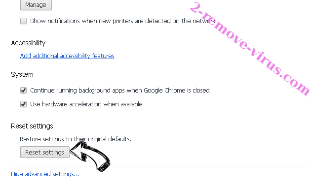 Your Email Access redirect Chrome advanced menu
