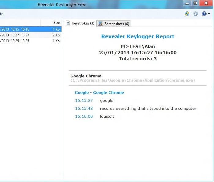 Suppression de Keylogger.Revealer
