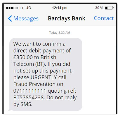 Phishing via sms