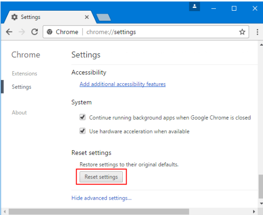 Resetting Chrome Settings