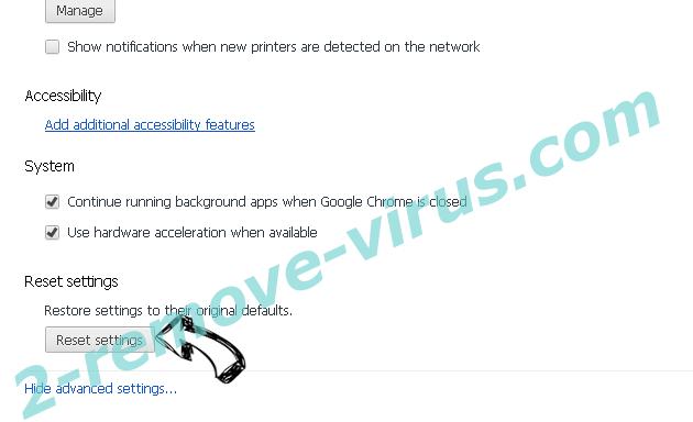 Be-notified.com Chrome advanced menu