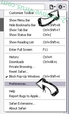 Be-notified.com Safari menu