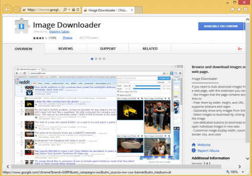 Usunąć Image Downloader Extension