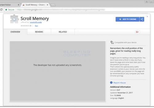 Menghapus Scroll Memory Extension
