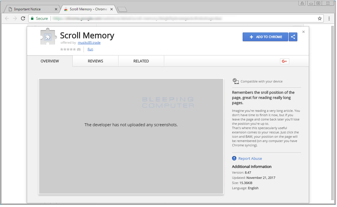Scroll Memory Extension Kaldır