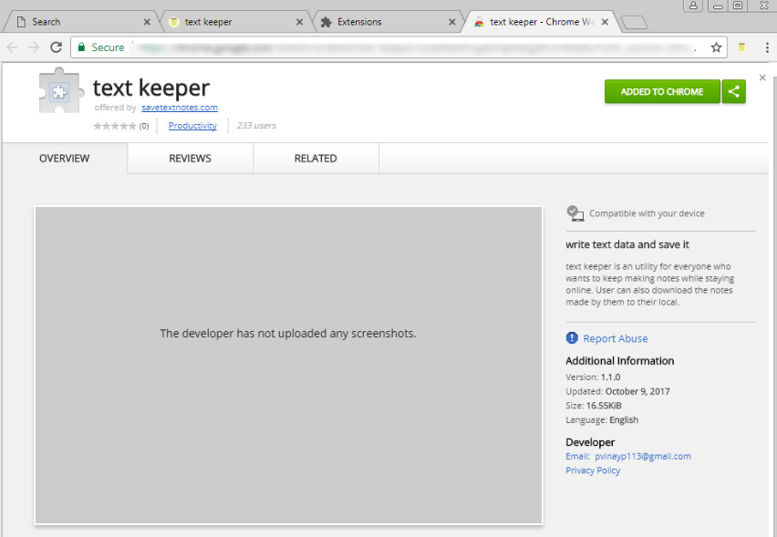 Odstranění Text Keeper Chrome Extension